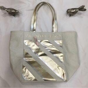 4/$25 ✨Victoria's Secret Gold Striped Tote Bag ✨